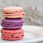 3 Macarons stacked on top of each other.